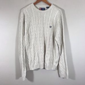 Chaps cream tab knit cable sweater size XXL